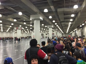 My daughter's friend likes walking dead so we're in line for the panel. Space on the side is every other panel. #nycc